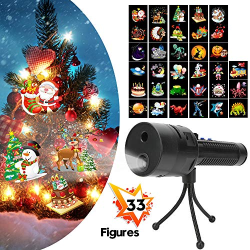 Projector Lights Christmas, ANBUY Decorative Lighting Projectors with 3 Slides 33 Different Themes Patterns, Flashlight LED Projector for Halloween Easter Birthday Party Holiday -