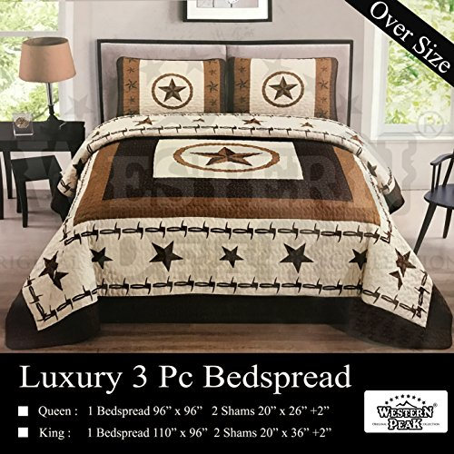 - Western Peak 3 Piece Western Texas Star Barb Wire Style Quilt Bedspread with Pillow Shams (Beige, King)