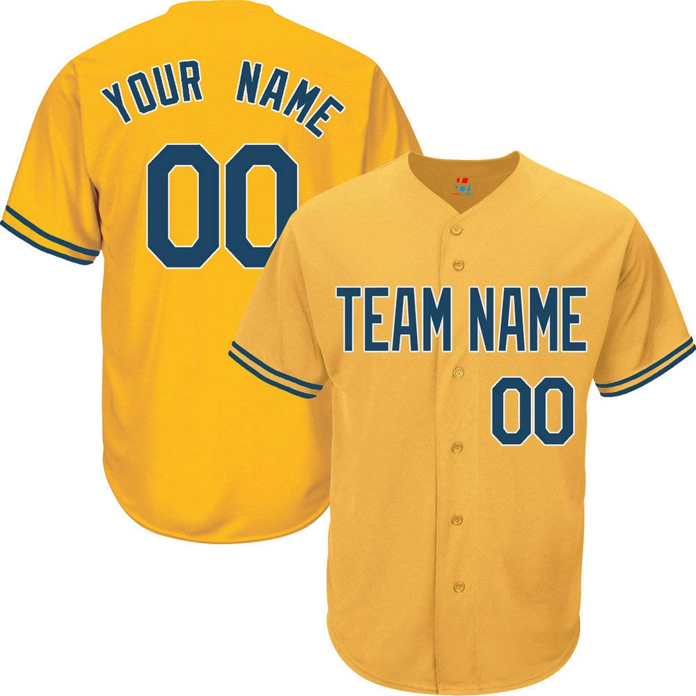 Yellow Customized Baseball Jersey for Men Button Down Embroidered Team Player Name & Numbers,Navy-White Size S