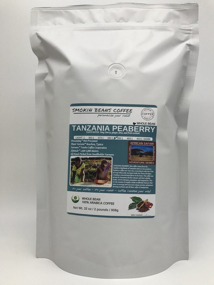 2-LBS SUPER FRESH ROASTED – TANZANIA PEABERRY COFFEE (in a FREE BURLAP BAG) – Order Today/ROASTED TODAY – Beautiful Medium/Dark, Whole Bean – SUPER SWEET – a Perfectly Developed Roast – BEST TASTES by Smokin Beans (Image #3)