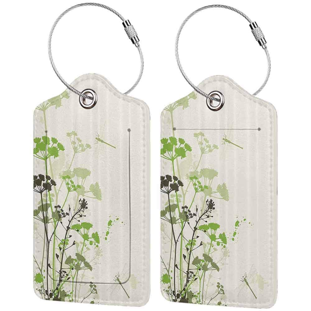 Personalized luggage tag Country Decor Collection Minimalist Foliage and Herbs Illustration with Dragonflies Winged Insects Mystic Animal Easy to carry Green Beige W2.7 x L4.6