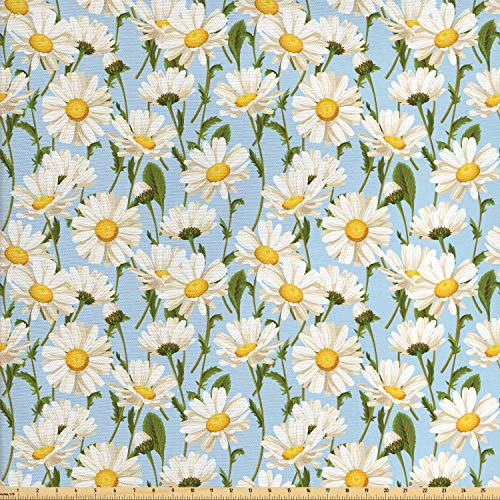 Lunarable Daisy Fabric by The Yard, Chamomile Flowers Garden Spring Foliage Harvest Yard Shabby Pattern, Decorative Fabric for Upholstery and Home Accents, 2 Yards, Ivory Olive Green Baby Blue