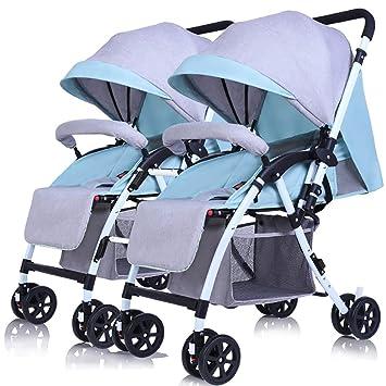 Yhz@ Cochecito de bebé Doble Desmontable Puede Sentarse y acostarse Ligero Carro de Cama Plegable Plegable Reversible Sillas de Paseo (Color : Linen Mint ...