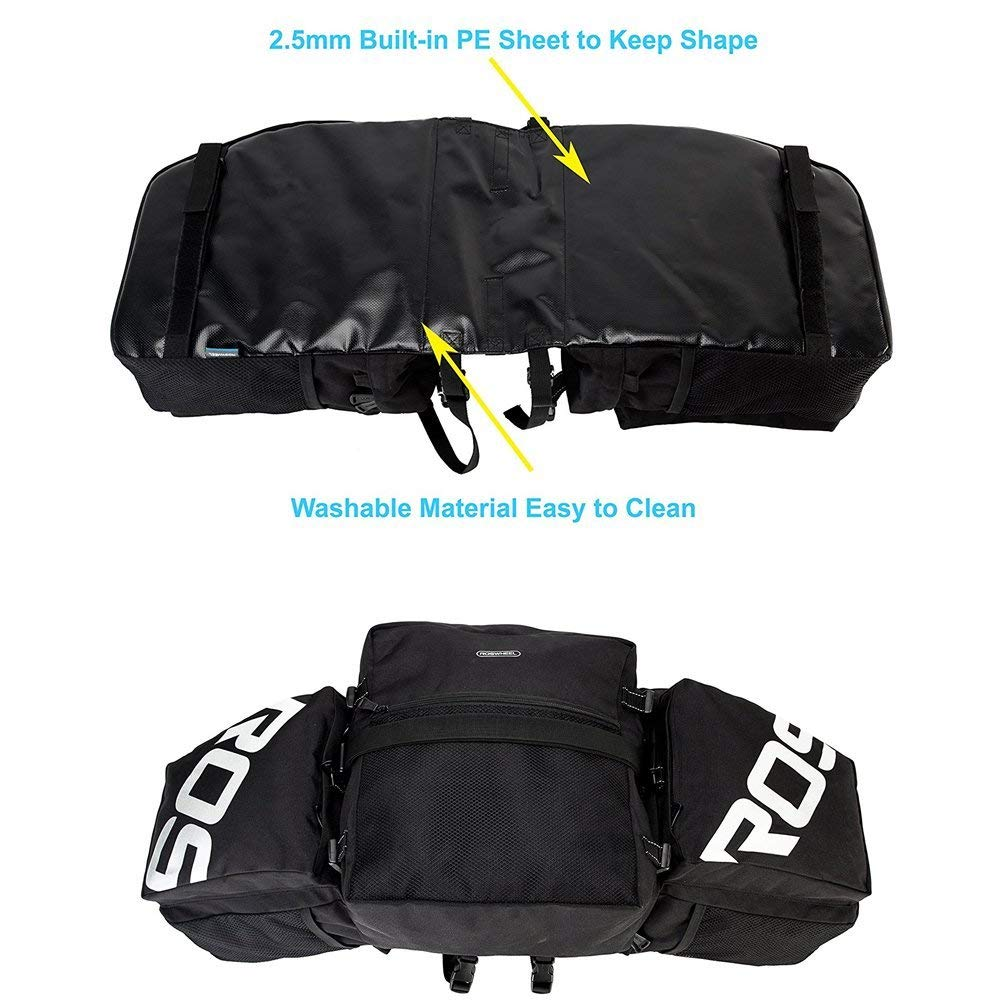3 in 1 37L Waterproof Cycling Pannier Rear Rack Bag Bicycle Back Seat Trunk Bag Saddle Bag for Mountain MTB Bike with Detachable Shoulder Strap /& Reflective Sign XPhonew Bike Rear Rack Bag