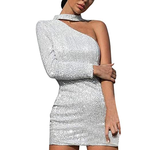 9cd107130c7 Salaks Women Sexy Dress Long Sleeve Off Shoulder Sheath Short Bodycon Hem  Asymmetry Club Dresses White