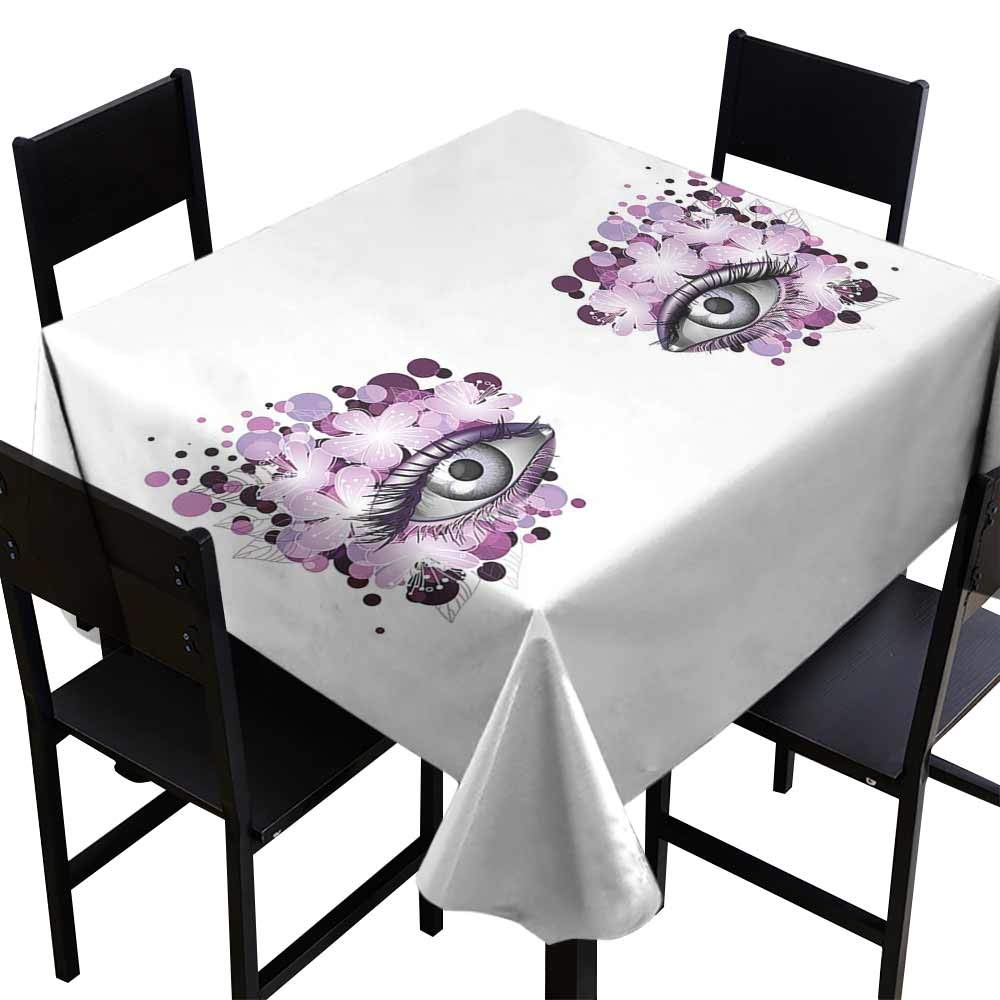 StarsART Party Table Cloth Eyelash,Fantasy Look with Abstract Floral Makeup Design Dots Violet Summer Blossoms,Violet Lilac Grey D65,Round Tablecloth