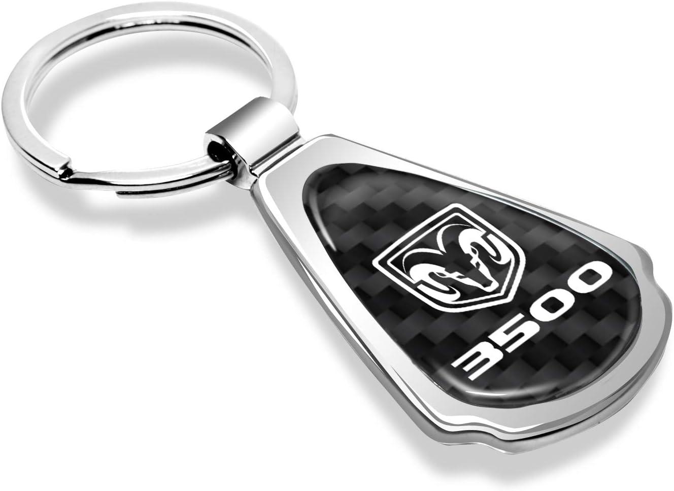 iPick Image for RAM 3500 Logo Real Black Carbon Fiber Chrome Metal Teardrop Key Chain