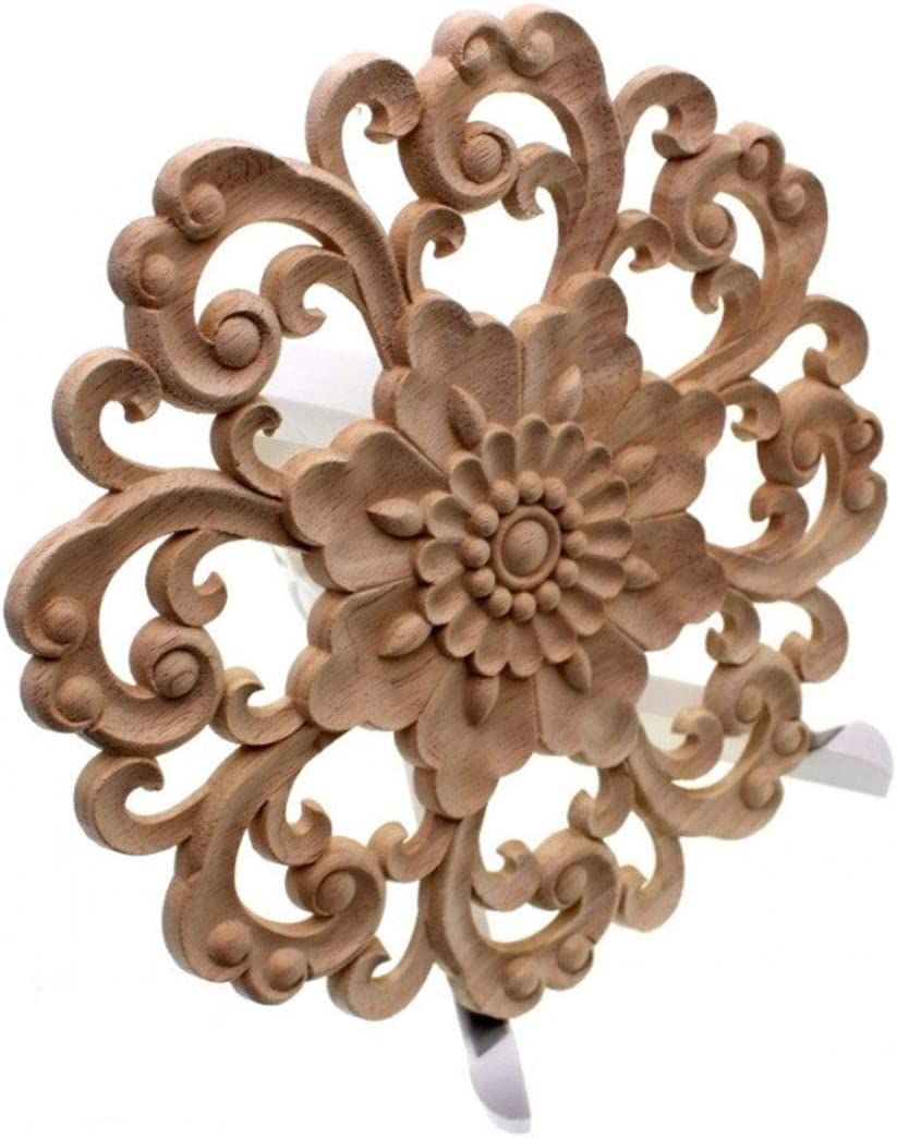 Timesens Furniture Wood Carving Appliques Vintage Nautical Decor Cabinet Door Solid Decals Flowers Pattern Carved Crafts 15cm
