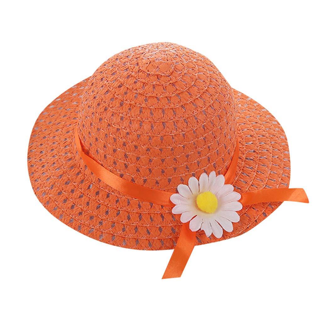 ❤️ Mealeaf ❤️ Baby Kids Girl Summer Floral Flower Straw Visor Sun Hat Beach Hats(Orange,)