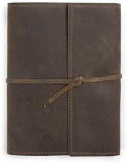 product image for Large Leather Writers Log by Rustico with Flap Style Closure, 6.75 by 8.75 inches, Dark Brown, Made in The USA