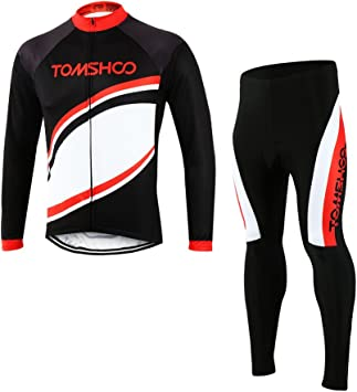 TOMSHOO Conjunto de Ropa de Ciclismo - Jersey de Manga Larga y Zip Completo+ Pantalones de Acolchado 3D Cómodo Respirable Secado Rápido - Ropa Deportivo para Bicicleta de Montaña: Amazon.es: Deportes y