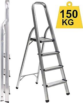 Escalera plegable de 4 peldaños Atlas Trade, ligera, de aluminio ...