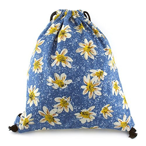 Canvas Drawstring Back Sack (Gym Drawstring Bag Canvas Backpack Lightweight Sackpack Sack Cinch Bag for School Storage Sports Outdoor (Yellow Daisy))