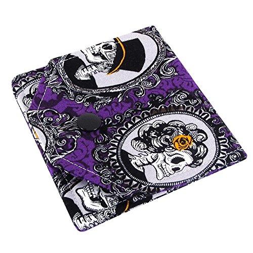 (Handmade Purple Skull Fabric Earbud Case)