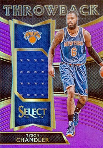 Tyson Chandler player worn jersey patch basketball card (New York Knicks) 2017 Panini Select Throwback Crome #26 LE (Chandler Throw)