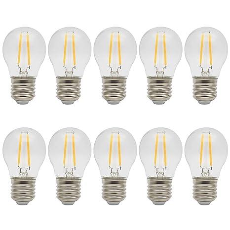 10X E27 Bombilla LED Filamento 2W LED de Edison Ahorro de Energía Bombillas Vintage LED Blanco Cálido 3000K Sustitución del Incandescente 20W Bombilla ...