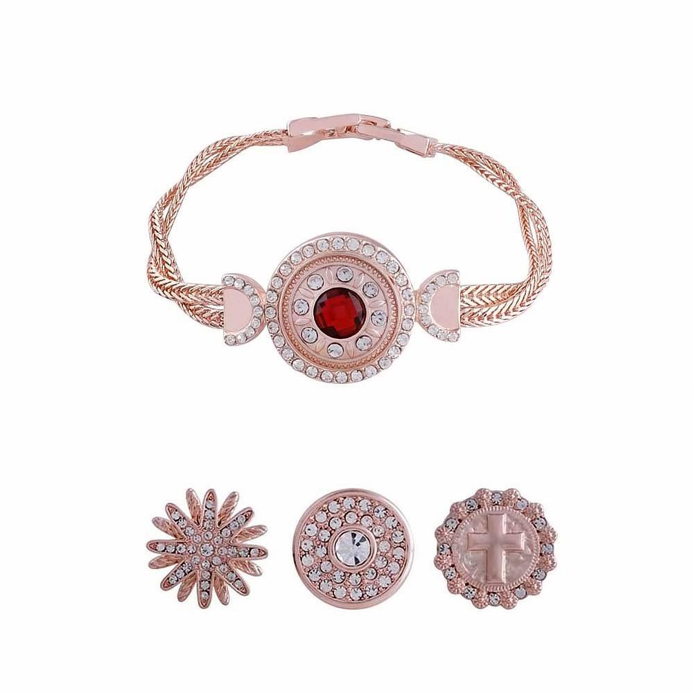 LOV*MOMENT Lovmoment Bracelets 19CM Rose Gold Fit 18-20mm Interchangeable Snap Charms