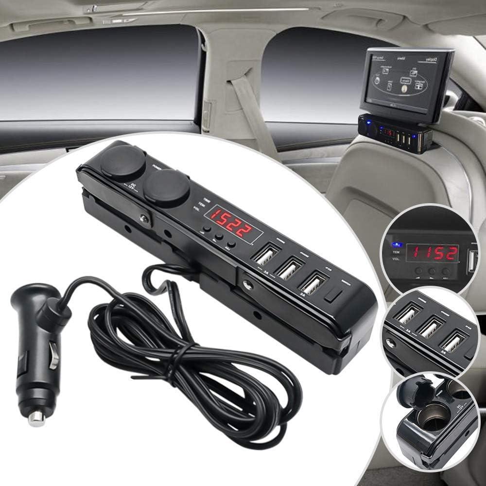 splitter 3A 12 V HugeAuto 24 V LCD termometro per cruscotto auto adattatore per accendisigari a 3 prese con voltmetro multi presa di corrente caricatore USB