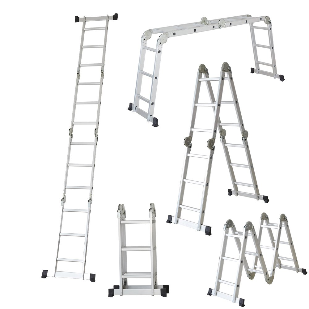KARMAS PRODUCT Folding Ladder Aluminum Multi-Fold Step Multi-Purpose Extension Ladder Heavy Duty