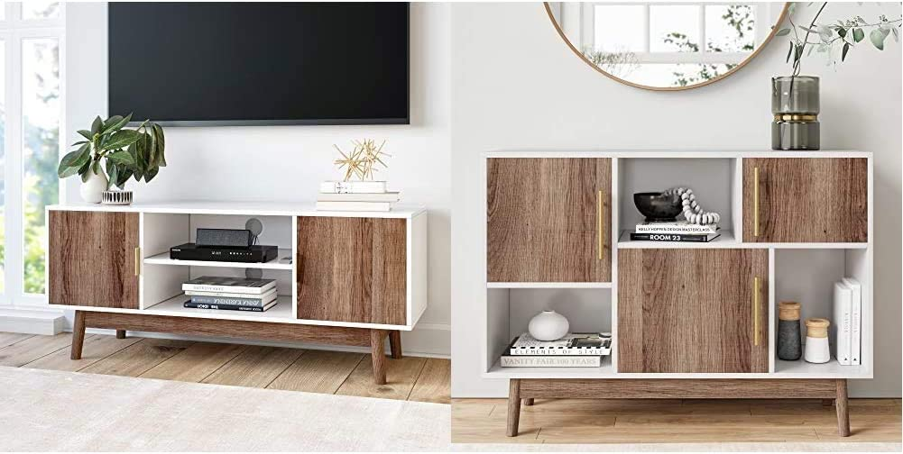 Nathan James Wesley Scandinavian TV Stand Media Console with Wooden Frame and Cabinet Doors, White/Rustic Oak & James Ellipse Multipurpose Display Storage Unit Entryway Furniture, TV Stand, White
