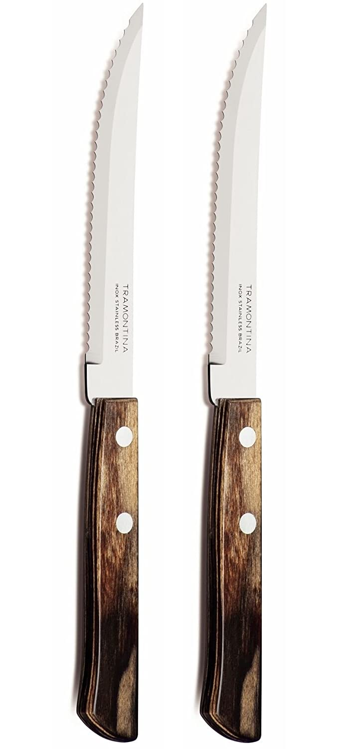 Tramontina Churrasco Set of 2 Steak Knives, Brown