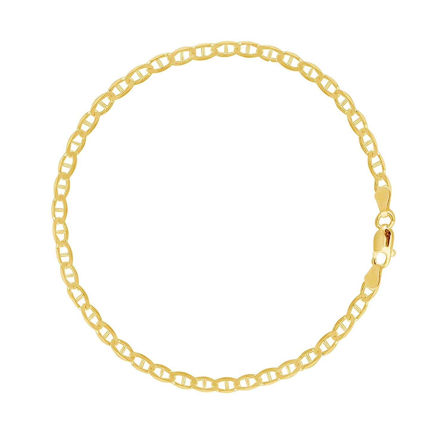 MCS Jewelry 10 Karat Solid Yellow Gold Mariner Link Anklet, (10'') (3.2mm Width)