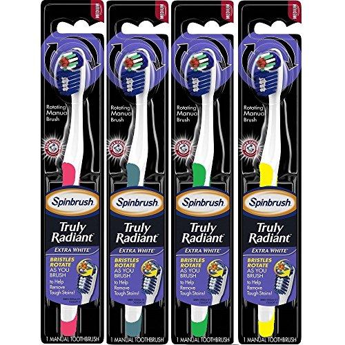 UPC 766878000671, Arm & Hammer Spinbrush Truly Radiant Extra White Manual Toothbrush, Medium, Colors Vary (4)