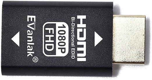 funziona con interruttori//estensione//ricevitore//video splitters-1920 x 1080 a 59 Hz 2P emulatore elimina in alluminio di alta qualit/à EVanlak emulatore HDMI Edid di terza generazione
