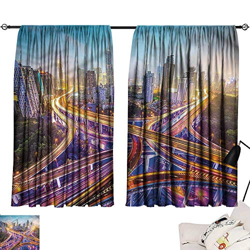Darkening/Blackout Darkening Curtains City,Highways in Shanghai China,Printed Curtain for Living Room W96 x L72 -