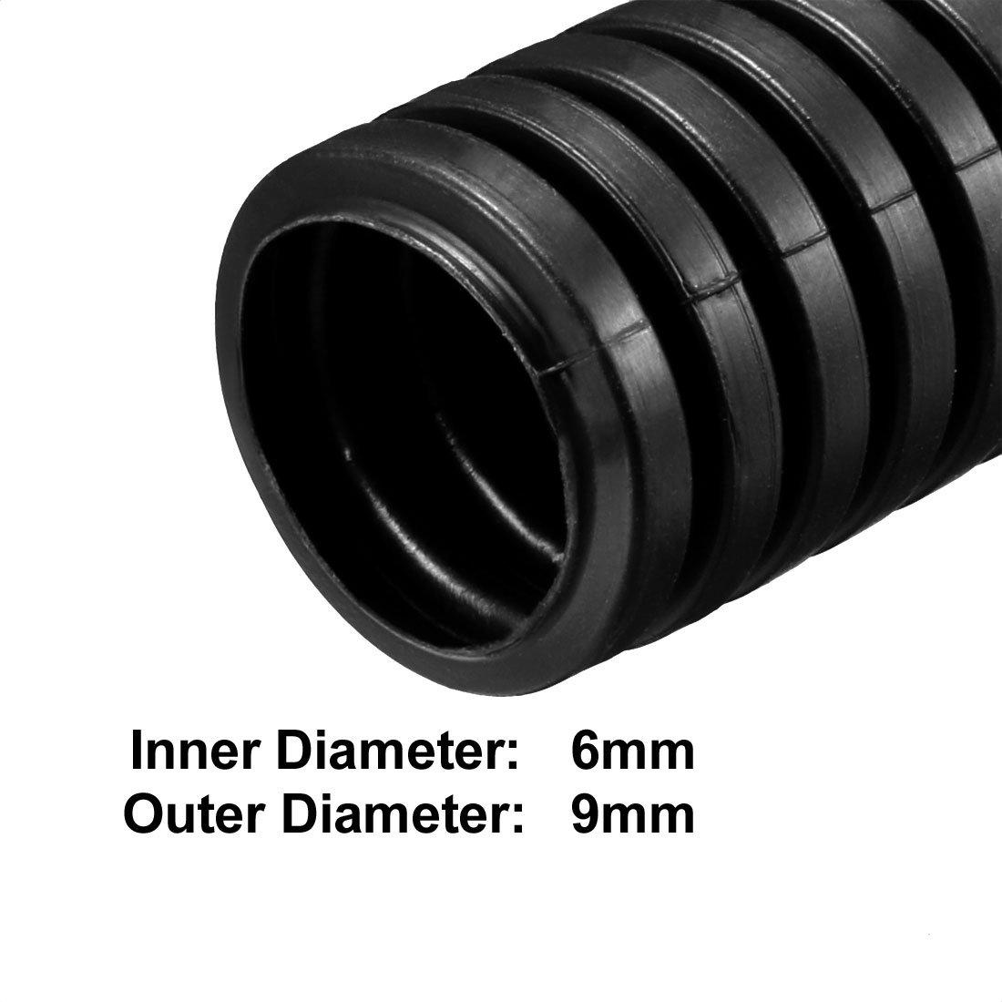 sourcing map Tube ondul/é Tubes PP Conduit flexible Tuyau Flexible 16mmx20mm Noir 1.6m Long