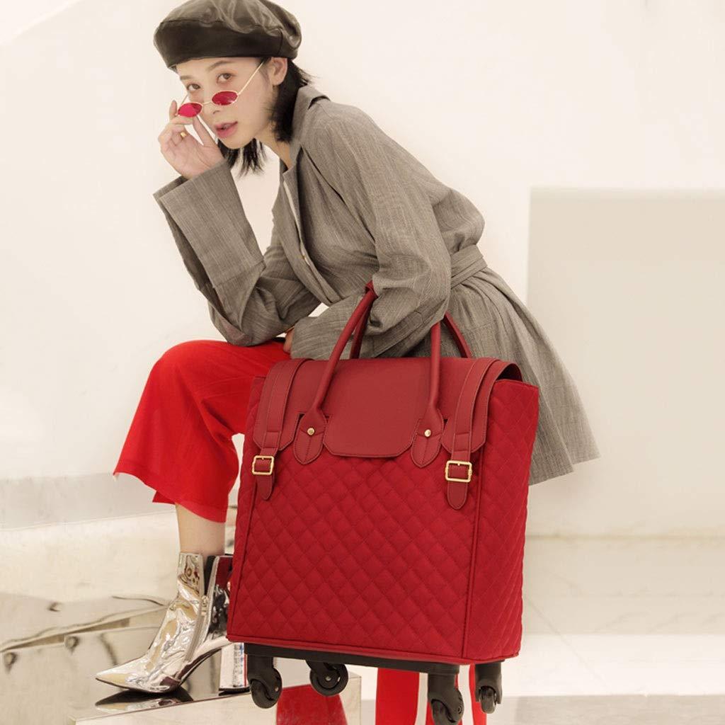 トロリーケース- ビジネストロリー箱18インチ、男性および女性の普遍的な車輪手荷物 (Color : Red, Size : 18in) B07V8HZZ21 Red 18in