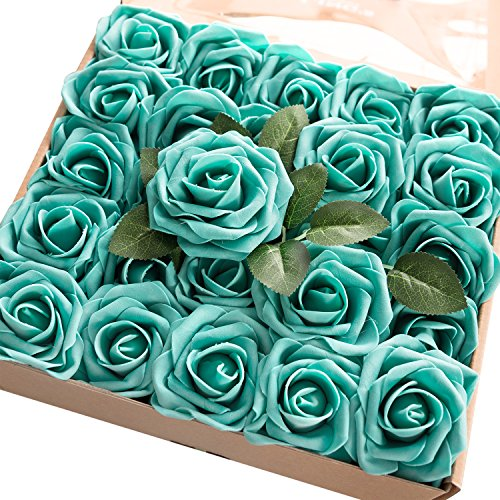 Cake Decor (Ling's moment Artificial Flowers Teal Green Roses 50pcs Real Looking Fake Roses w/Stem for DIY Wedding Bouquets Centerpieces Arrangements Party Baby Shower Home Decorations)