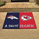 "Fanmats Home Indoor sports Team Logo Mat Denver Broncos - Kansas City Chiefs House Divided Rugs 34""x45"""
