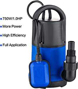 Hosmat 1HP Sump Pump Clean/Dirty Submersible Water Pump with Float Switch for Swimming Pool Garden House (1HP Blue)