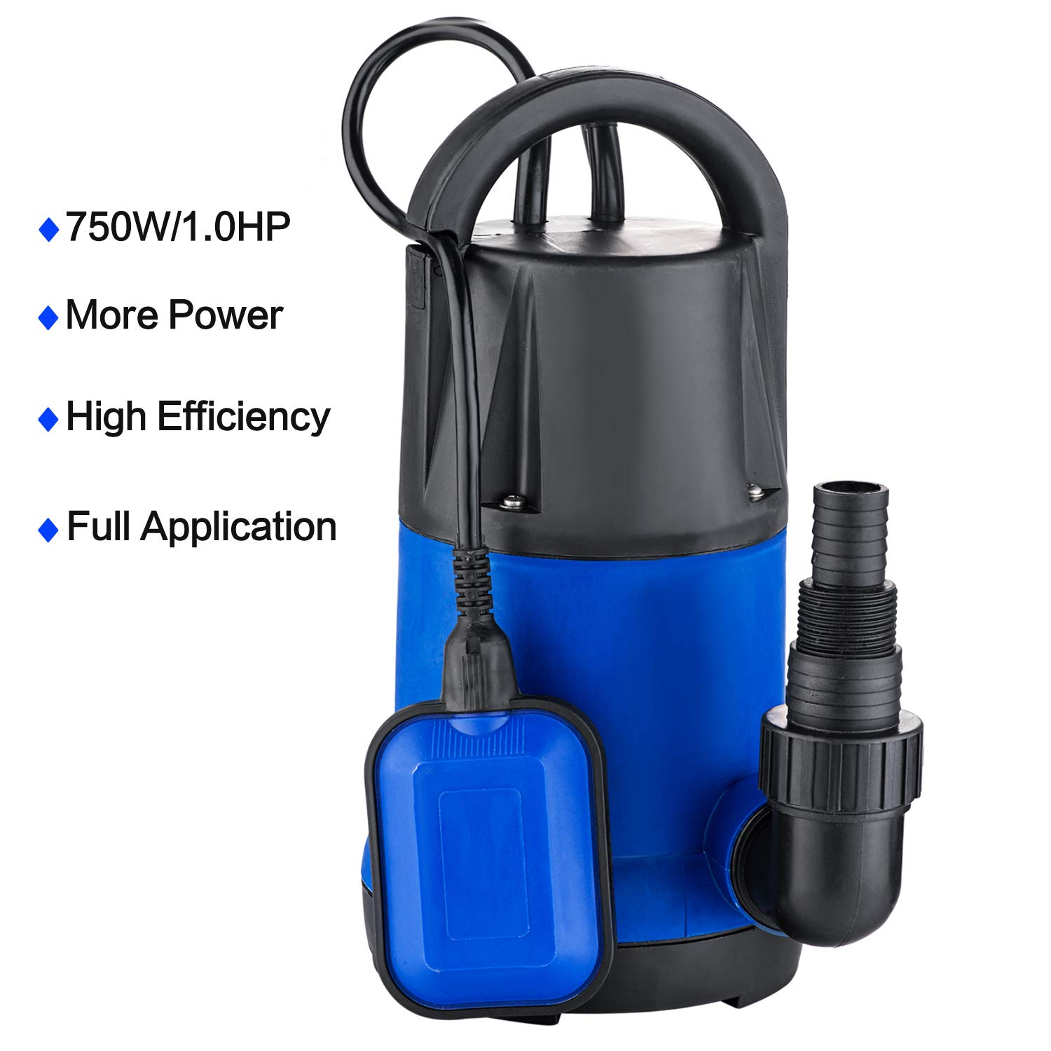 Hosmat 1HP Sump Pump Clean/Dirty Submersible Water Pump with Float Switch for Swimming Pool Garden House (1 HP Blue) by Hosmat