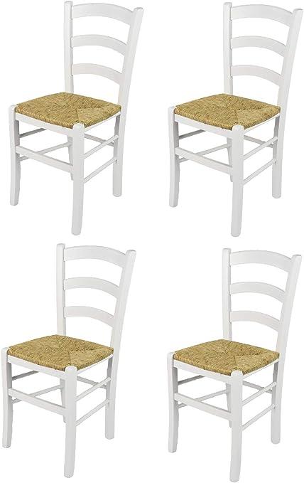 Bar et la Salle /à Manger Structure et Assise en Bois laqu/é Coleur Blanc Set 2 chaises Cross pour la Cuisine Tommychairs