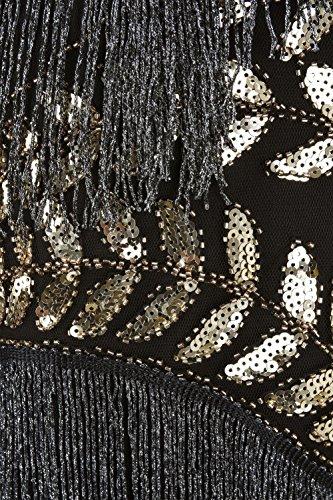 PrettyGuide Mujeres Anos 1920s Lentejuela Con Flecos Inspirado Vestido de Flapper dorado