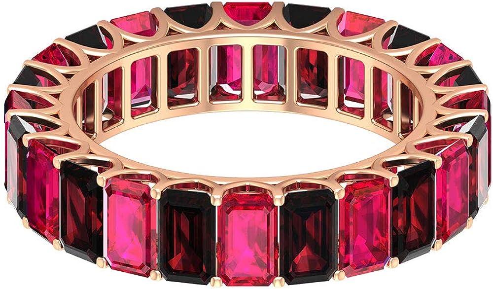 Anillo de boda personalizado de 7,20 ct con forma de octágono de rubí de granate certificado, rojo de 53 mm de piedra preciosa vintage, anillo de eternidad de novia, 18K Oro