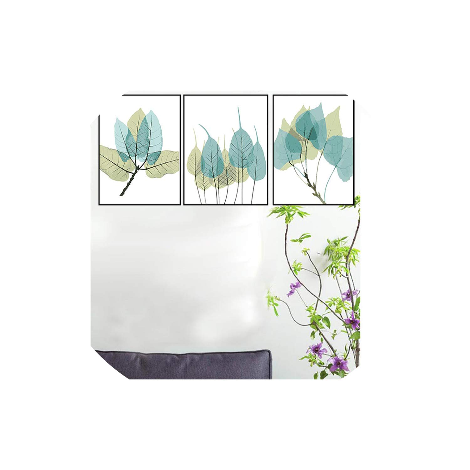MOMO 3X DIY Oil Painting by Numbers Flowers Triptych Modular Coloring Picture Deer Abstract Paint Home Decor Wall Sticker Unfinished,40X50X3Pc with Frame,14 Leaves by MOMO