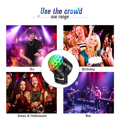 AOMEES Disco Light Party Lights Disco Ball LED Strobe Lights Sound Activated Dance Light Stage DJ Lighting for Home Kids Birthday Parties Festival Holiday Decorations Karaoke Bar Club (with USB) by AOMEES (Image #3)