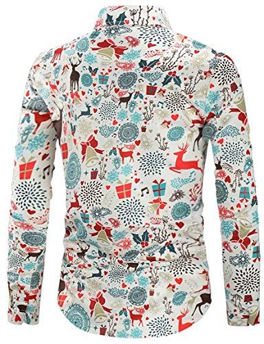RAISEVERN Mens Fun Christmas Long Sleeve Button Down Shirts Santa Decoration Reindeers Printed Xmas Party Dress Shirt, White Christmas Day, XL
