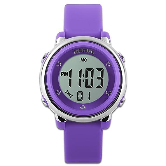 Reloj deportivo para niños con cronómetro y retroiluminación de 7 LED, función para aprender la hora y pulsera de silicona, color morado: Amazon.es: Relojes