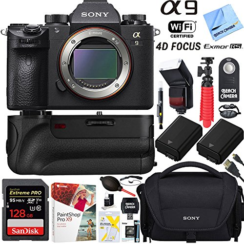 Sony a9 24.2MP Full-frame Mirrorless Interchangeable Lens Camera Body + 64GB Memory and Battery Grip Super Bundle by Beach Camera