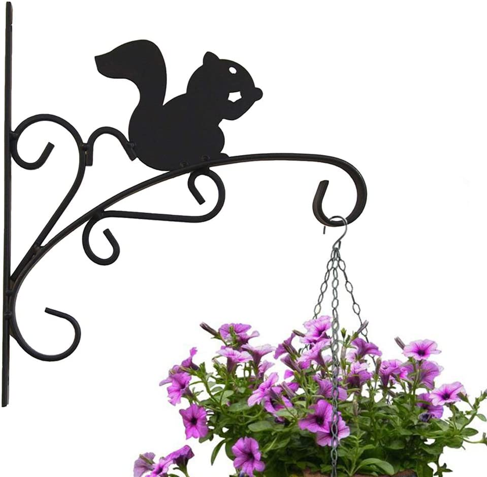 Worth Garden Plant Hooks & Hangers Decorative Outdoor Iron Wall-Mount Plant Bracket Hook for Flowers and Plants to add to Your Home - Garden or Patio - Metal Squirrel - K501A00