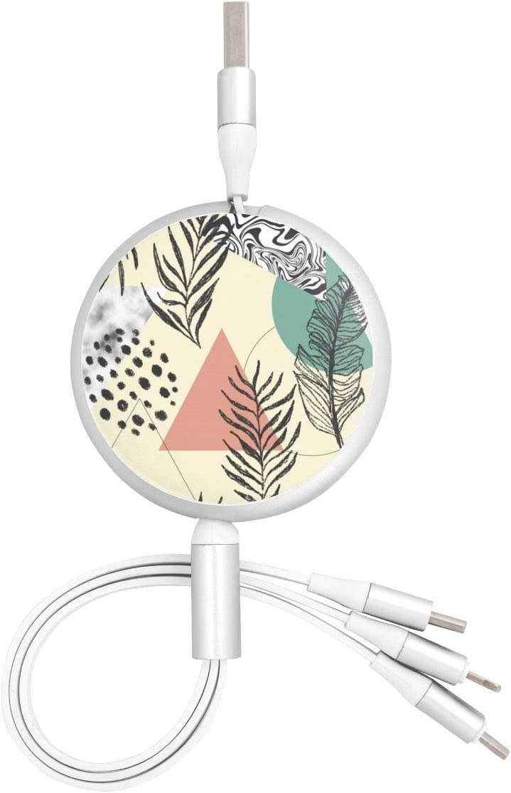 Abstract Seamless Pattern with Triangles Marble Tropical Leaves Universal 3 in 1 Multi-Purpose USB Cable Charging Cable Adapter Micro USB Port Connector for Mobile Phones and Tablets