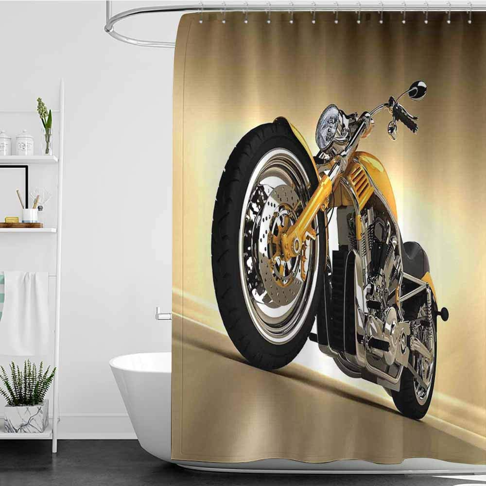 Tim1Beve Large Shower Curtain,Motorcycle Iron Custom Aesthetic Hobby Motorbike Futuristic Modern Mirrors Riding Theme,Shower stall Curtain,W55x84L Yellow Silver by Tim1Beve