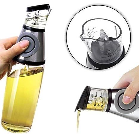 Orocolato Home - Dispensador dosificador de Aceite o vinagre a presión - Aceitera 500 ml - Tapón medidor antigoteo Integrado