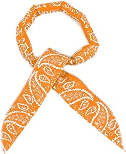 JellyBeadZ Brand - Hydrating Water Bead Neck Bandana -Cooling Sports Scarf - Orange Bandana Pattern …