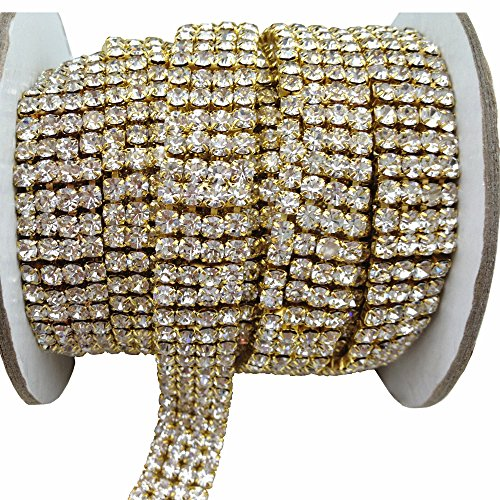 3 FEET 1 Yard 4 Rows SS16 3/5 inches Clear Crystal Close Gold Plated Rhinestone Chain Trims Cup Chain Wedding Cake Decoration