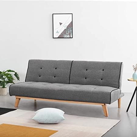 Panana Stylish Home Office Small 3 Seater Linen Fabric Sofa Bed Solid Wood With Clic Clac Mechanism Grey Amazon Co Uk Kitchen Home